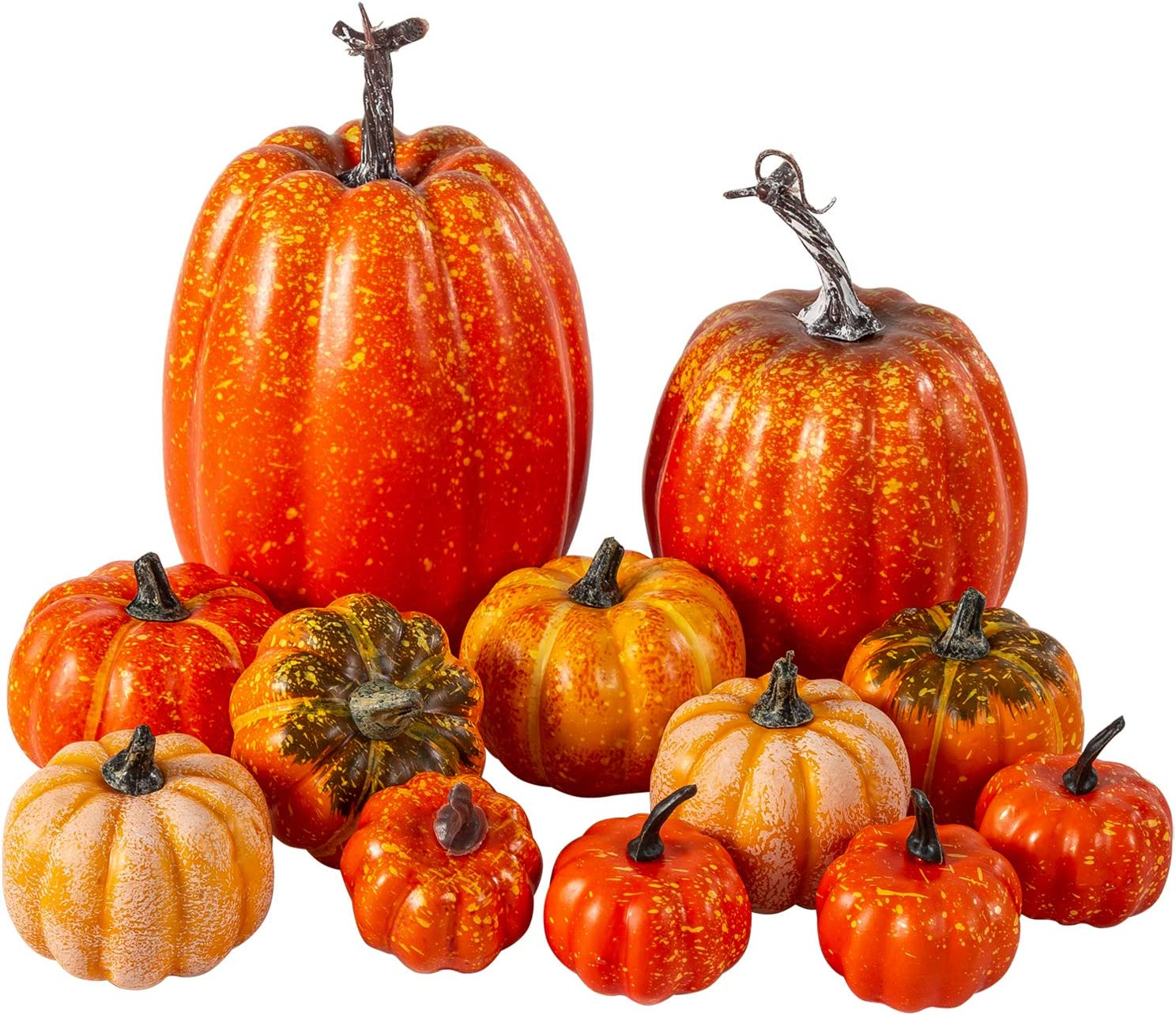 12Pcs Assorted Sizes Artificial Pumpkins Decoration Harvest Fall Orange Pumpkins Fake Foam Pumpkins for Fall Autumn Decor Thanksgiving Halloween Decorations