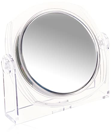 Acrylic Transparent Table Top Mirror, Light And Portable. Double Sided 10X/