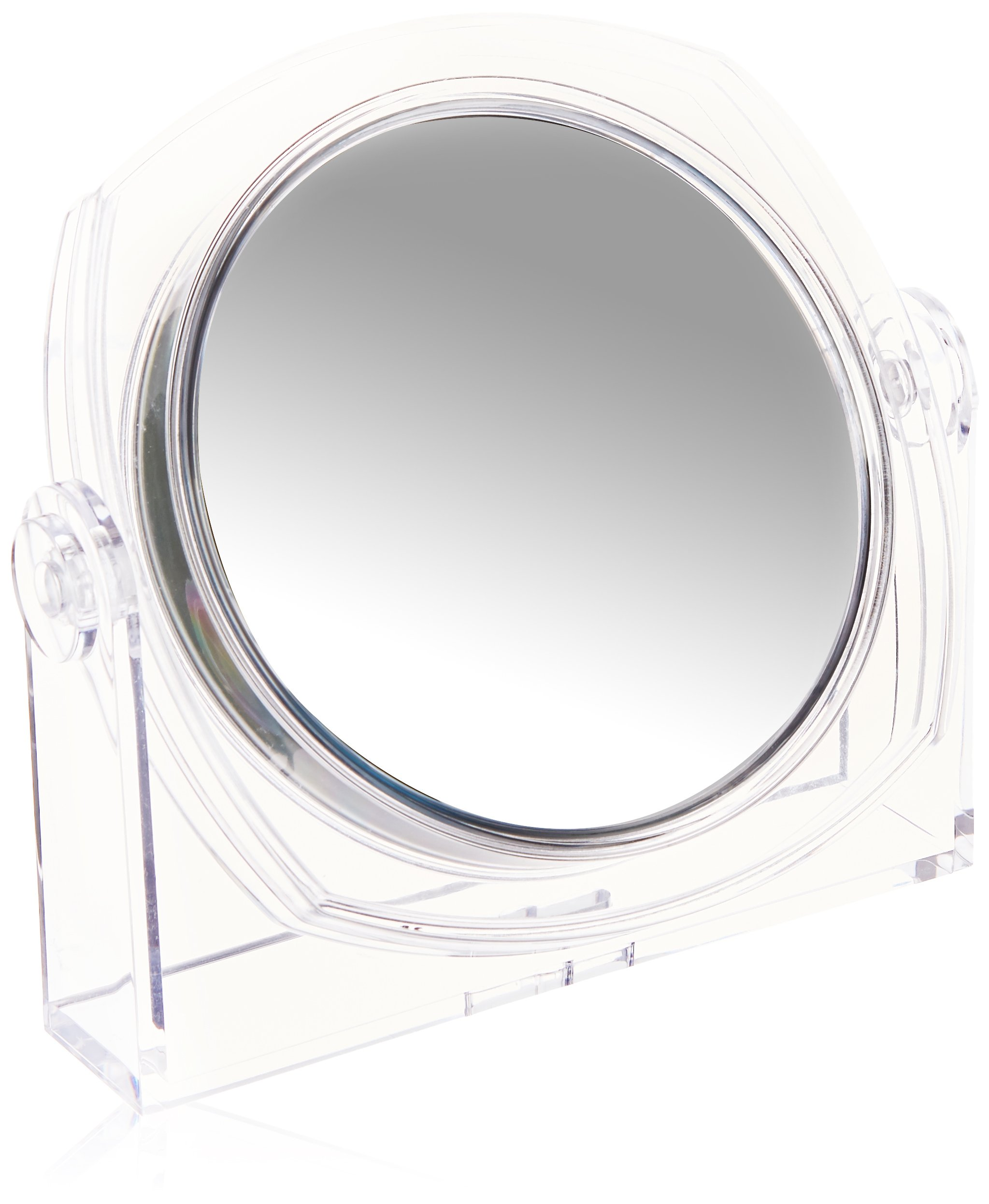 Acrylic transparent table-top mirror, light and portable. Double-Sided 10X/1X Magnification and Normal View. 6.5 inches diameter and 7 inches height. Soft Touch Finish
