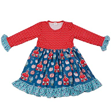 aba6d0f0e Image Unavailable. Image not available for. Color: Baby Girls Boutique  Clothing Set Long Sleeve Ruffle Dress 5T
