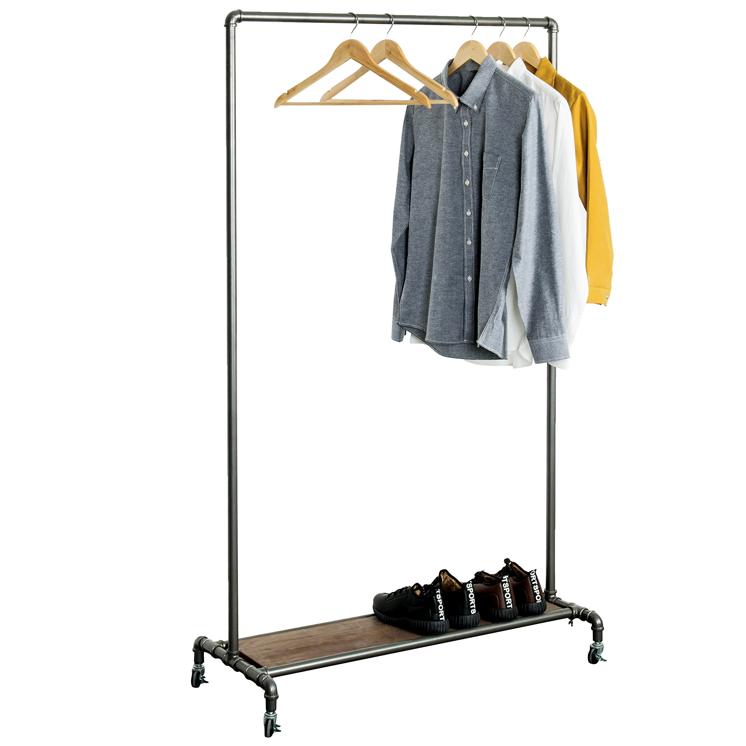Industrial Style Metal Pipe Rolling Garment Rack with Wood Panel Storage Shelf & Caster Locking Wheels by MyGift