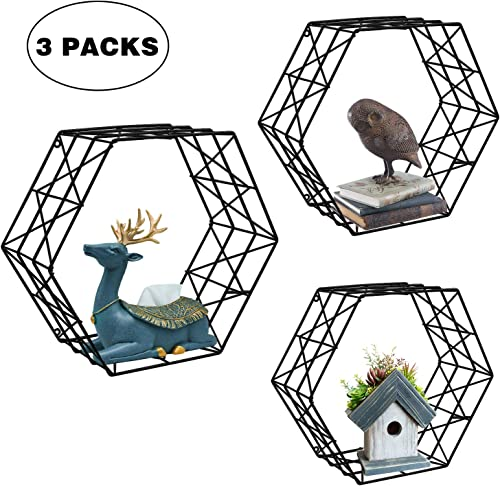 ERYTLLY Metal Floating Shelves Kitchen Hexagon Wall-Mounted Shelves Storage Display Shelves,Set of 3 Black Hexagon