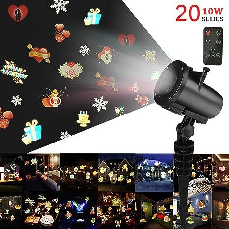 Proiettore Luci Di Natale Amazon.Led Proiettore Luci Natale Kingtoys 10w Luce Di Natale Con 20 Lenti Intercambiabili Luci Di Paesaggio Rgb Luci Di Proiezione All Aperto E
