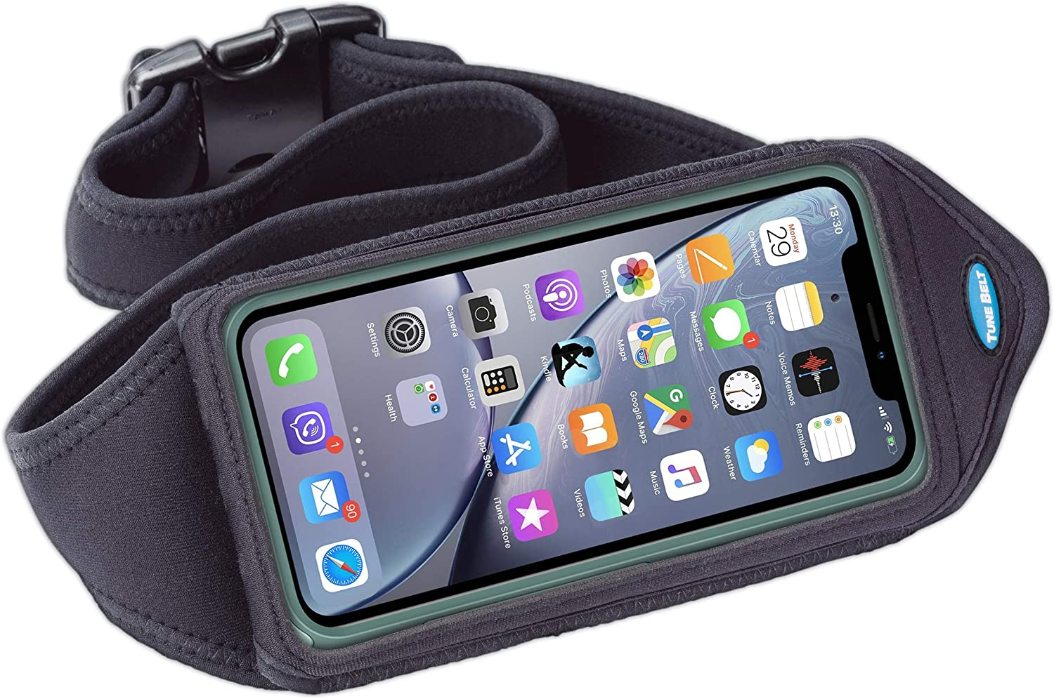 Tune Belt Running Waist Pack for iPhone 11, 11 Pro Max, Xr, Xs Max, iPhone 7 8 Plus, Samsung Galaxy S10 S9 S8 , Note 10 9 8 – Workout Pouch fits Large Phones with OtterBox Large Case Black
