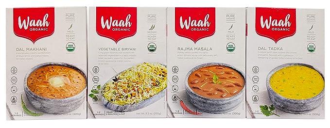 Waah Organic comida india lista para comer, variedad de 4 ...