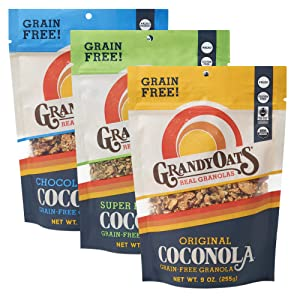 GrandyOats Organic Coconut Granola, Variety Pack Coconola - Gluten Free, Paleo Friendly, Grain Free, Low Carb, Low Sugar and Non-GMO, 9oz Bags, Bulk Pack of 3