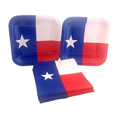 Texas State Flag Party Bundle with Paper Dessert Plates and Napkins for 16 Guests: Health & Personal Care