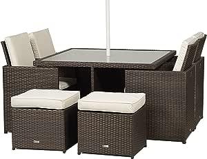 Milano – Mesa de comedor Cube Set de cristal muebles de jardín de mimbre con cojines de sillas de respaldo alto (4 + 4 Taburetes + + Paraguas/Sombrilla + Polvo Cubierta Jardín