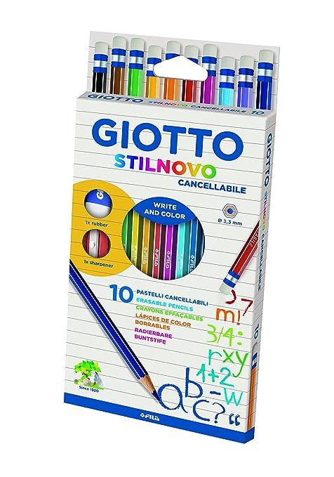 Giotto 256800 - Stilnovo Cancellabile Astuccio 10 Pastelli Colorati con  Temperamatite e Gomma 1238d4860db
