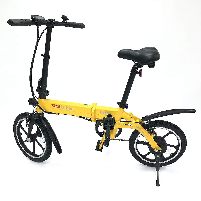 SK8 eBike Urban Beetle Bicicleta eléctrica plegable, Amarillo