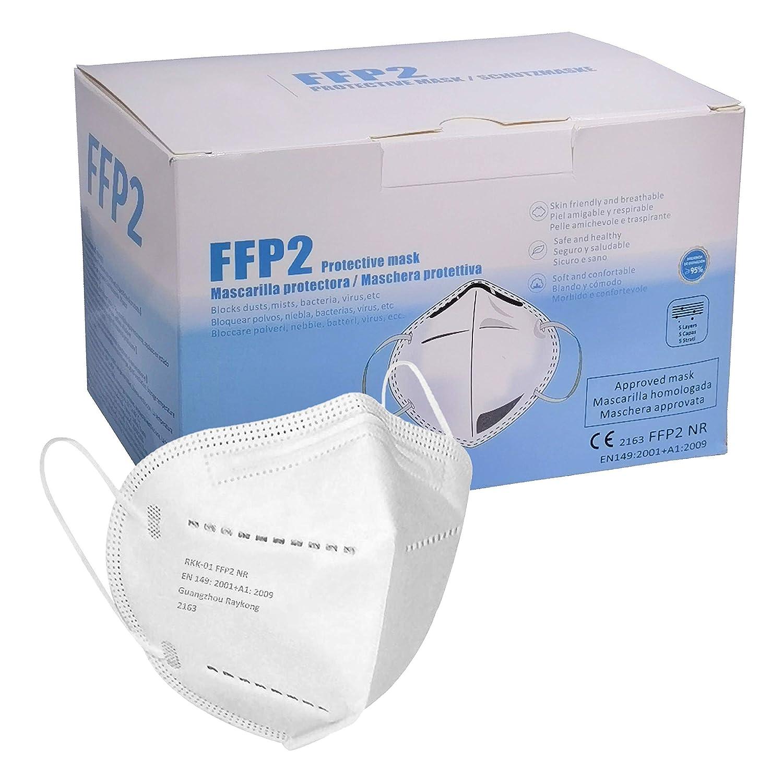 ELIOX Mascarilla FFP2 CE 2163, Mascarilla Homologada de Protección Civil. 5 capas. Mascara de Alta Eficiencia Filtración + Normativa EN149, Entrega Rapida (20 piezas)