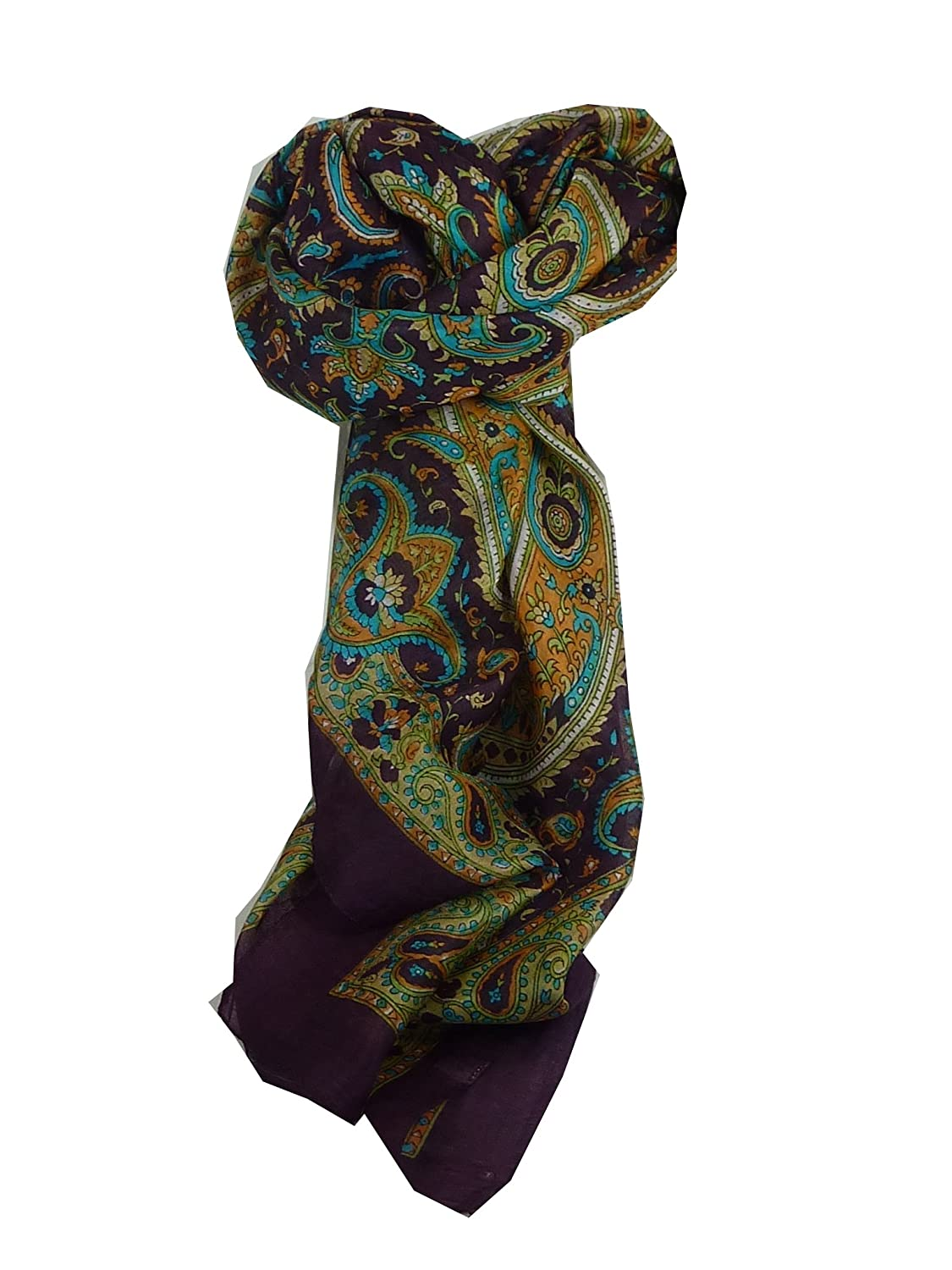 Kalinda Square Damask Traditional Silk Scarf by Pashmina & Silk