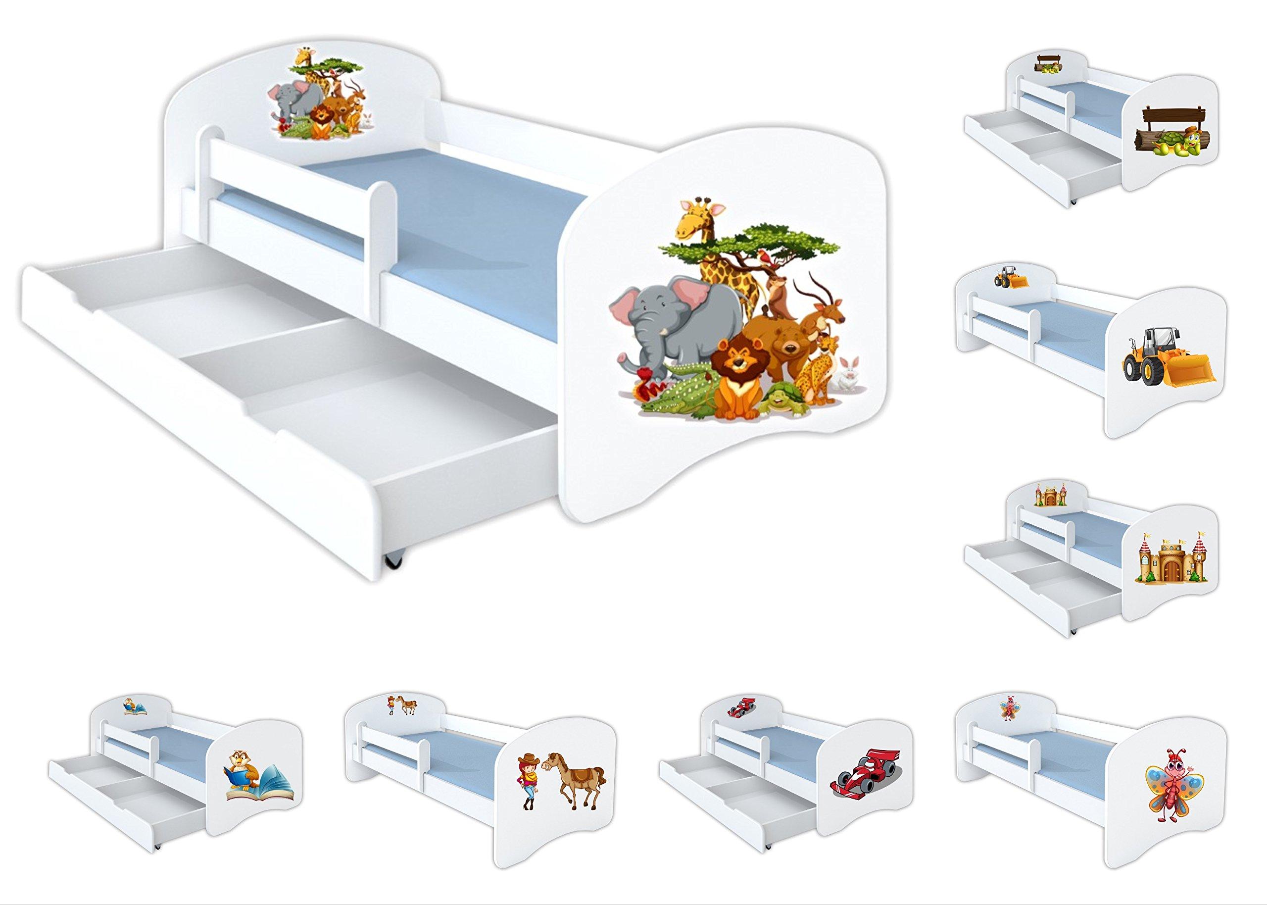Clamaro U0027Schlummerlandu0027 160 X 80 Kinderbett Mit Rausfallschutz Und Motiv  Aufkleber (austauschbar)