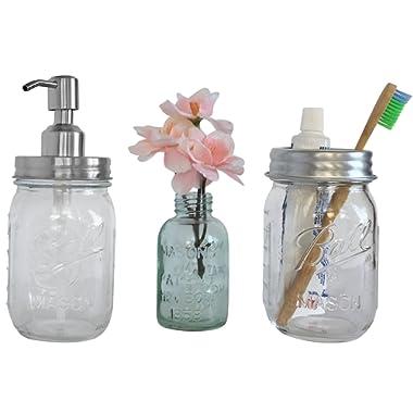 Farmhouse Bathroom Decor - Mason Jar Soap Dispenser and Toothbrush Set - Mason Jar Bathroom Accessories - Rustic Bathroom Decor