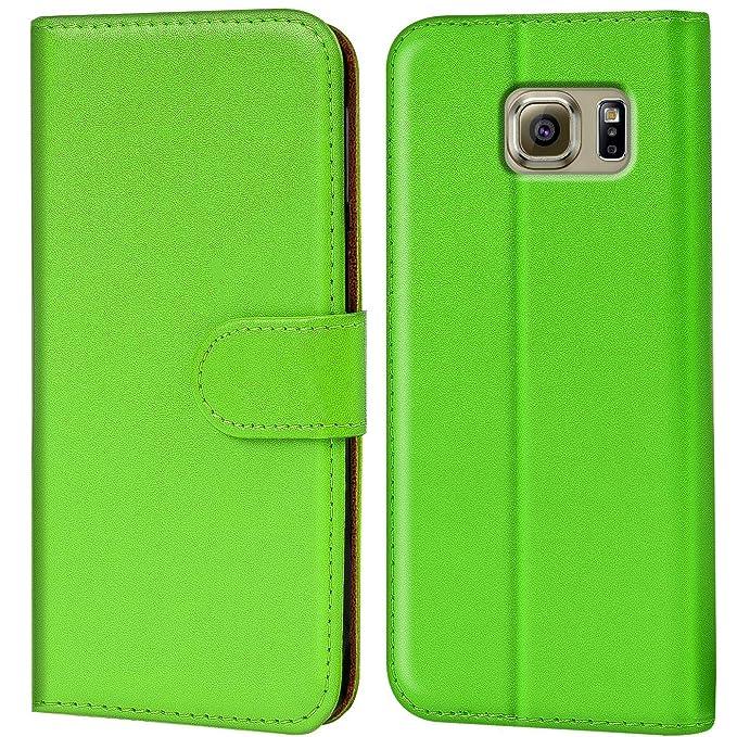 Verco Galaxy S6 Edge Hülle, Handyhülle für Samsung Galaxy S6 Edge Tasche PU Leder Flip Case Brieftasche - Grün