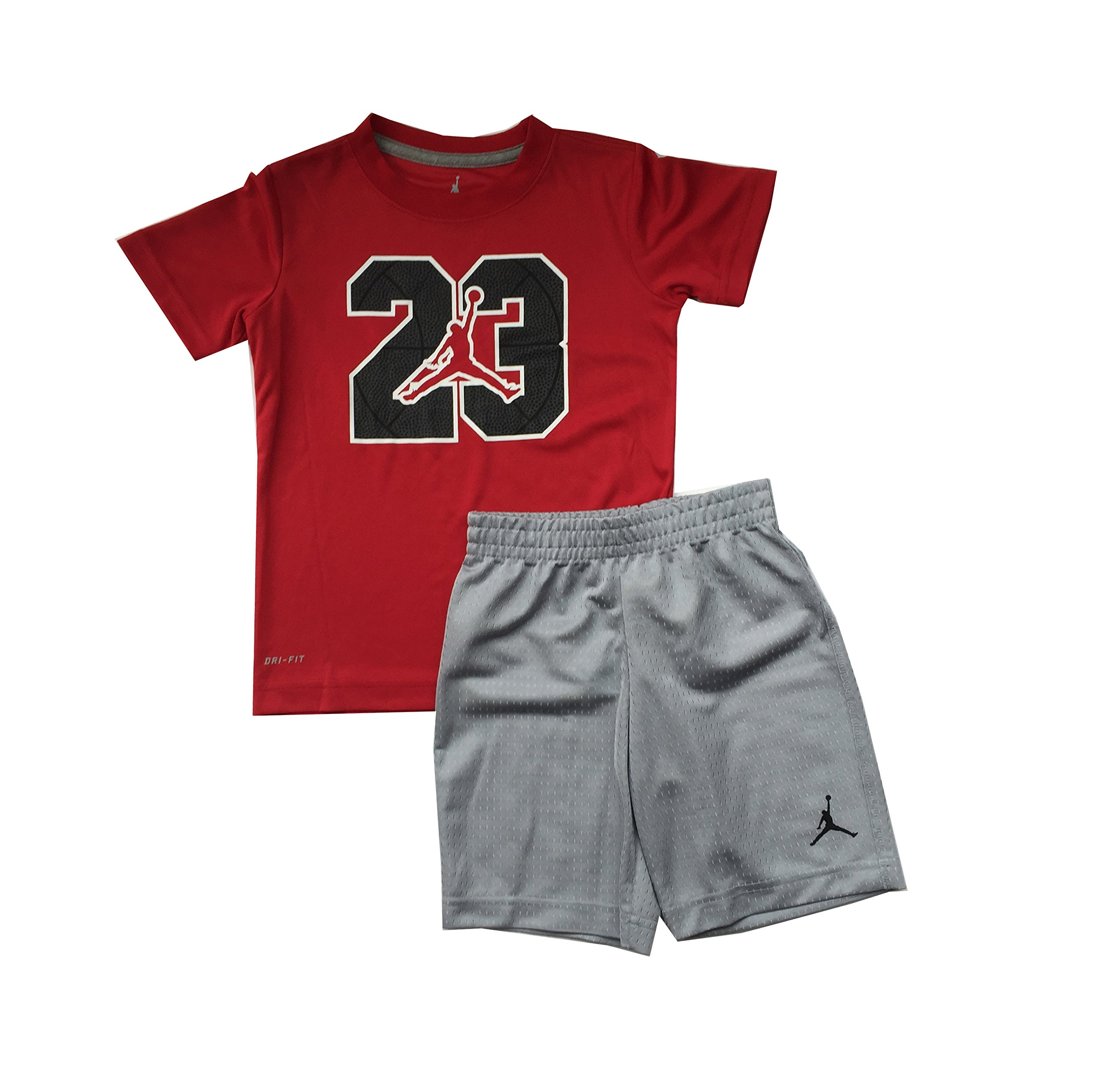 8c04dd31369a Galleon - Jordan Jumpman 23 Logo Little Boys Tee Shirt And Shorts Set  Red Wolf Grey Size 6