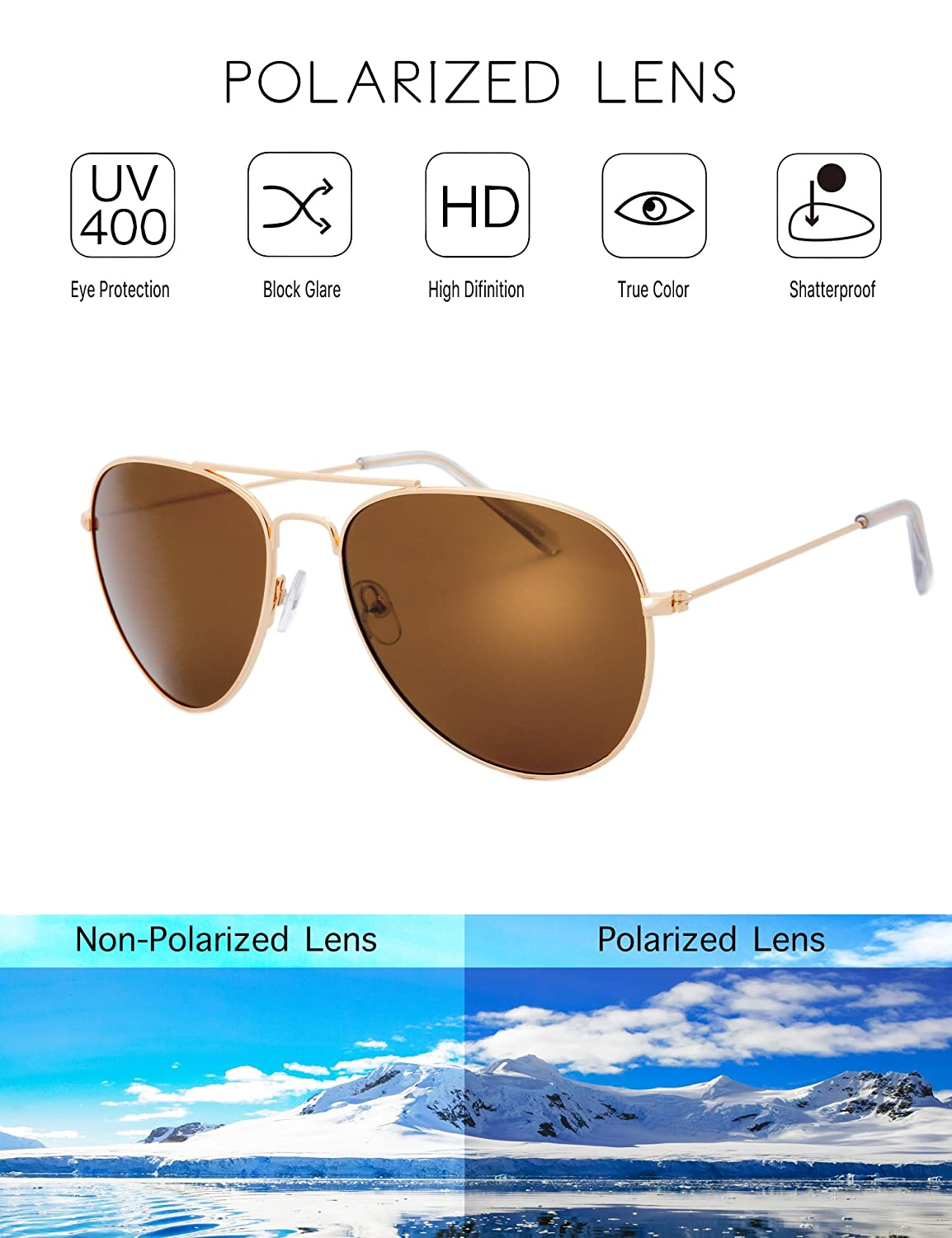 48c5b7c5bdddf Amazon.com  The Fresh Classic Large Metal Frame Polarized Lens Aviator  Sunglasses with Gift Box (Gold