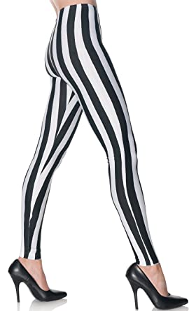 7c3972f8c6f9 Underwraps Women's Black and White Striped Leggings at Amazon Women's  Clothing store: