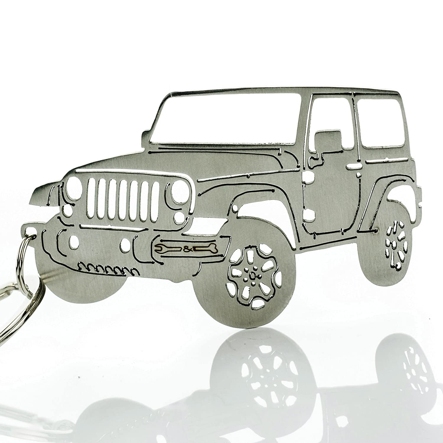 Wrenches & Bones Key Chain for Jeep Enthusiasts - Detailed JK/JKU/JL Stainless Steel Keychain for Jeep Wrangler Accessories Enthusiasts - Built (JK)