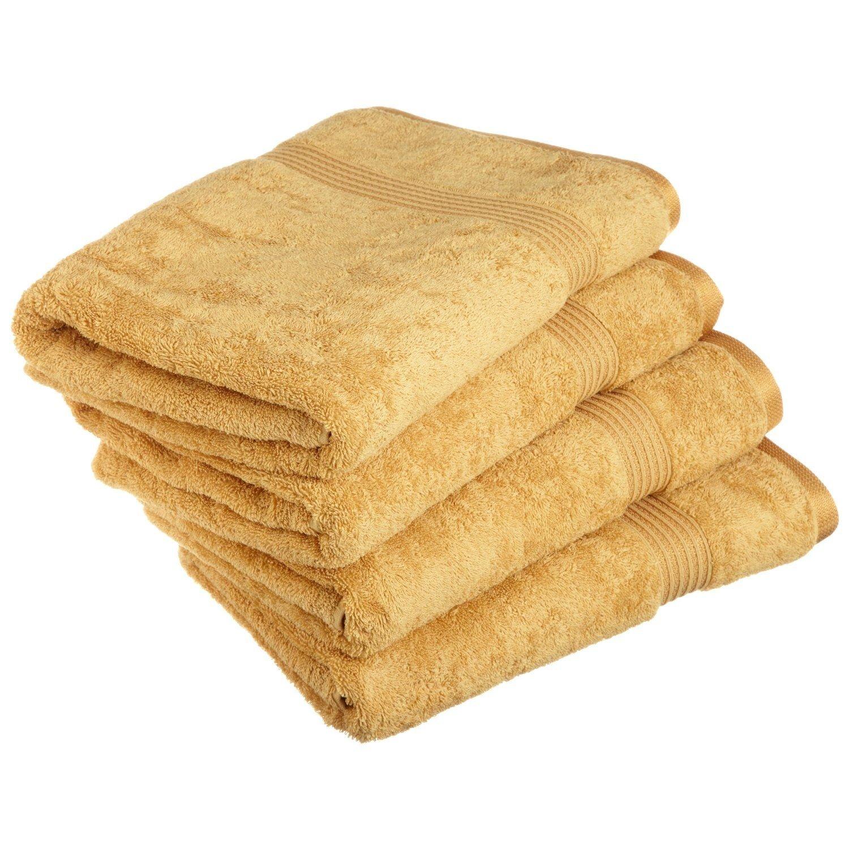 Blue Nile Mills 4-Piece Bath Towel Set, Long-Staple Combed Cotton, Gold
