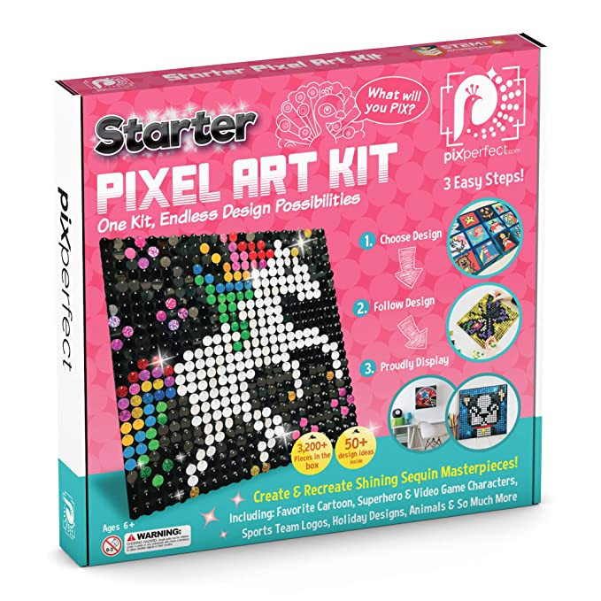 Buy Pix Perfect Starter Pixel Art Kit For Fans Of Pixel Art Crafts Or Sequins 8 Colors 3 200 Pieces 50 Design Ideas Hours Of Creative Fun Online At Low Prices In India Amazon In