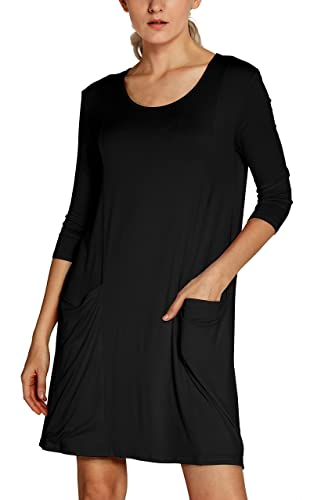 Urban CoCo Women's 3/4 Sleeve T-shirt Dress Casual Pocket Shift Dress