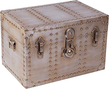 Amazon Com Vintiquewise Industrial Wooden Aluminum Storage Trunk With Lockable Latches Small Furniture Decor