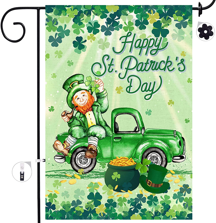 Bonsai Tree St Patricks Day Garden Flag, Double Sided Happy St. Patricks Day Burlap Yard Flags, Leprechaun Sat in The Irish Green Truck Flags 12x18 Prime, Shamrocks Garden Outdoor Decor