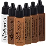 Belloccio Dark Color Shade Airbrush Makeup Foundation Set - Professional Cosmetic Airbrush Makeup in 1/2 oz Bottles