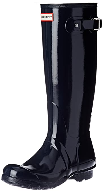 Hunter Original Tall Gloss Black, Schuhe, Stiefel & Stiefeletten, Hohe Gummistiefel, Grau, Schwarz, Female, 35