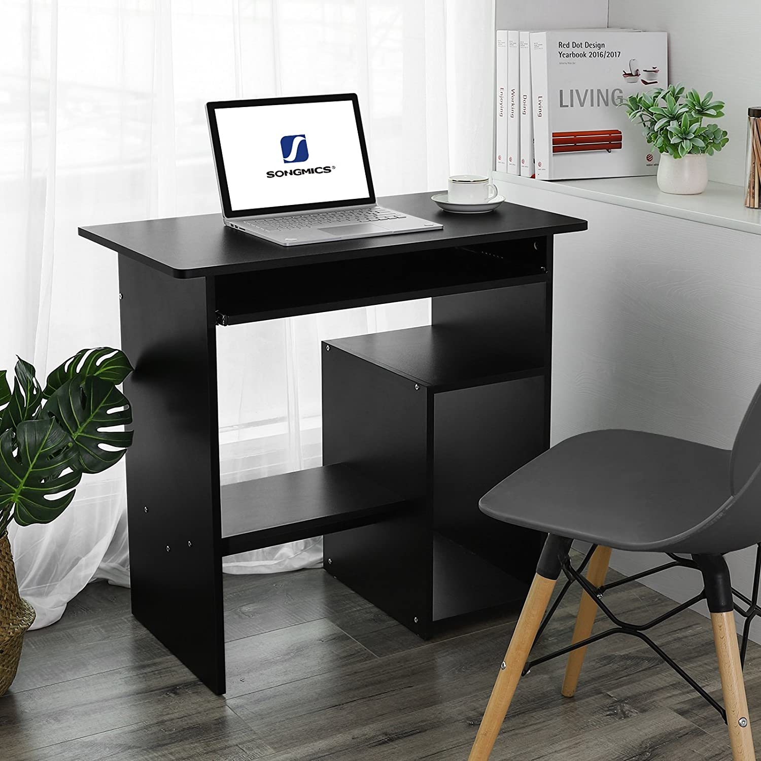 Amazoncom Songmics Computer Desk Study Writing Table Workstation For Home
