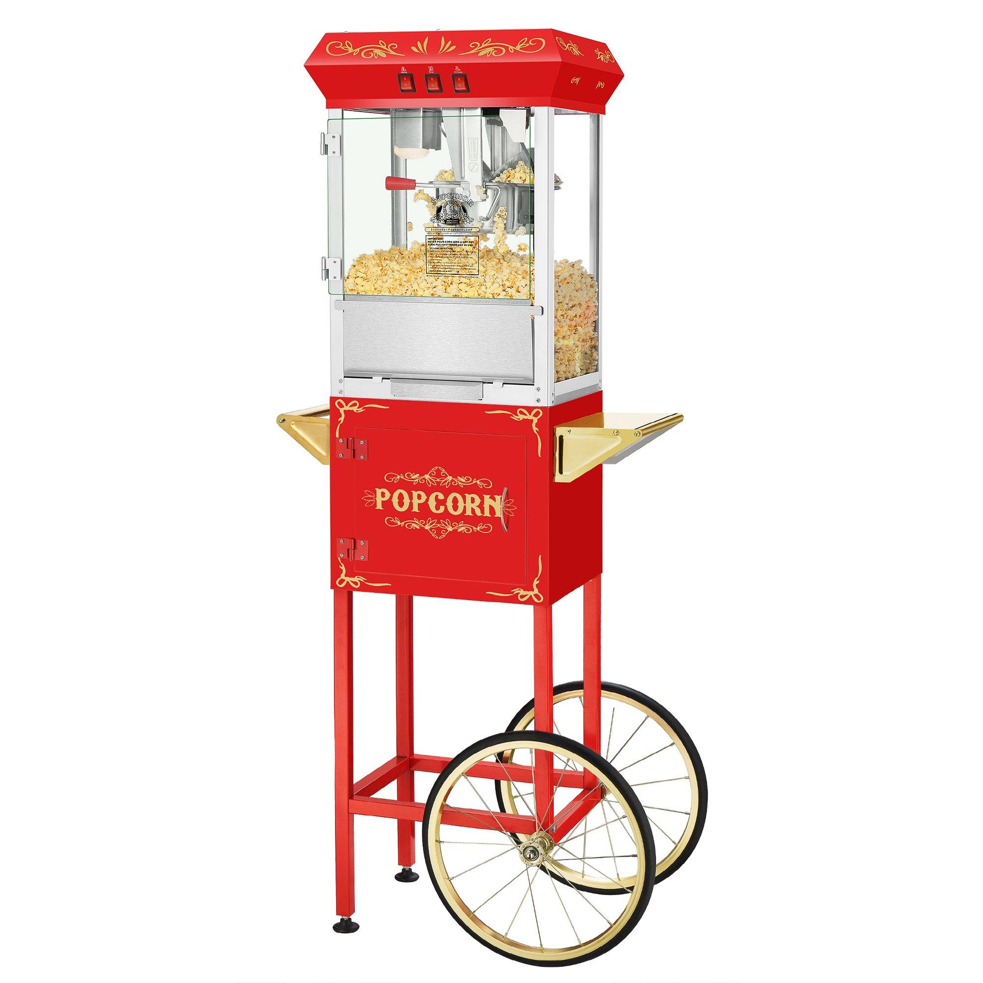 Superior Popcorn Company 4650 SPC Movie Night Red Full Movie Night Popper Machine Cart, 8 oz, Red