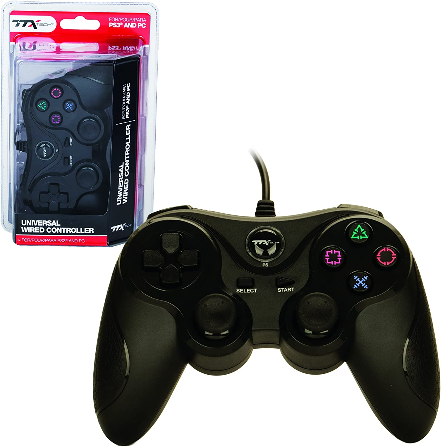 TTX PS3 Controller - Wired - USB Controller - PC Compatible - Black (TTX Tech) - PlayStation 3