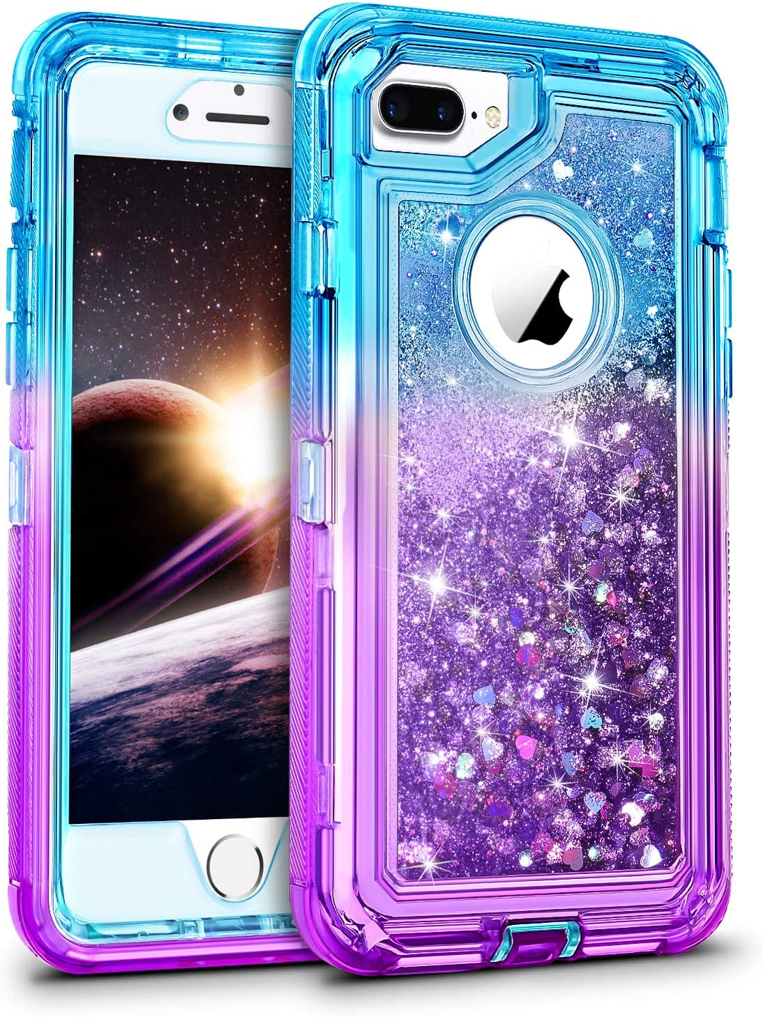 Amazon Com Wesadn Case For Iphone 8 Plus Case Iphone 7 Plus Case For Girls Women Cute Glitter Liquid Protective Bling Heavy Duty Shockproof Gradient Cover For Iphone 8 Plus 7 Plus 6 Plus