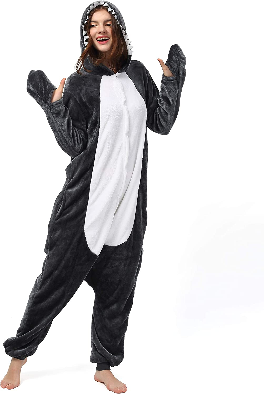 Katara- Pijamas Enteros Diferentes Animales y Tamaños, Adultos Unisex, Color tiburón Negro, Talla 175-185cm (1744)