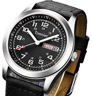 Tonnier Mens Weekender&Calendar Analog Canvas Strap Mans Watches