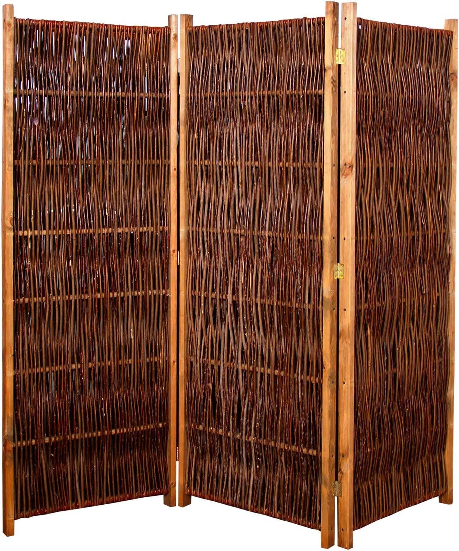 V.I.P. de biombo separador 180 x 140 cm (LXH) 3 piezas de madera + mimbre trenzado de Gartenpirat®: Amazon.es: Jardín