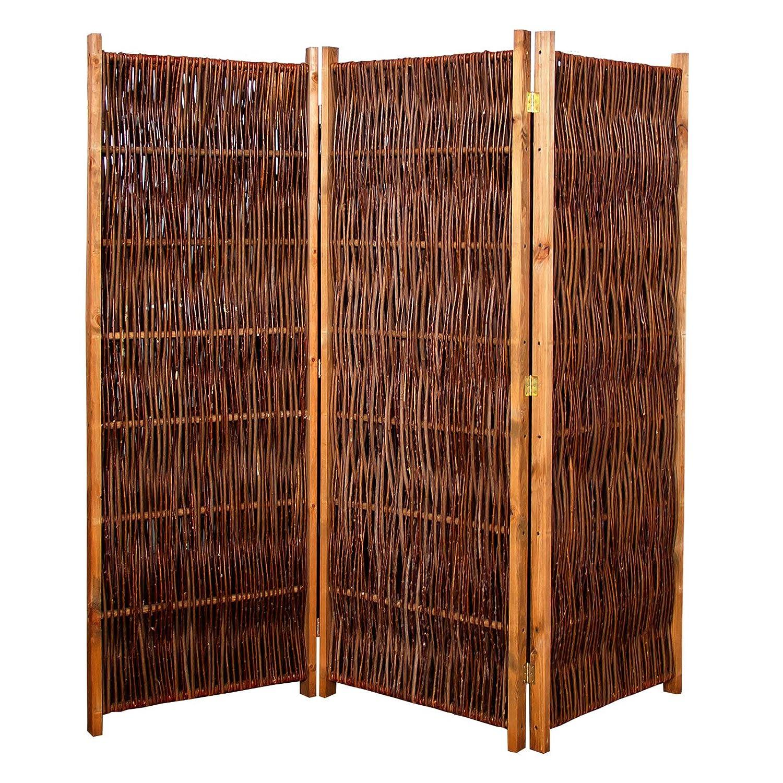 Gartenpirat Weiden-Paravent Raumteiler 180x140 cm cm cm (LxH) 3-teilig aus Holz + Weide Geflochten 1c5965