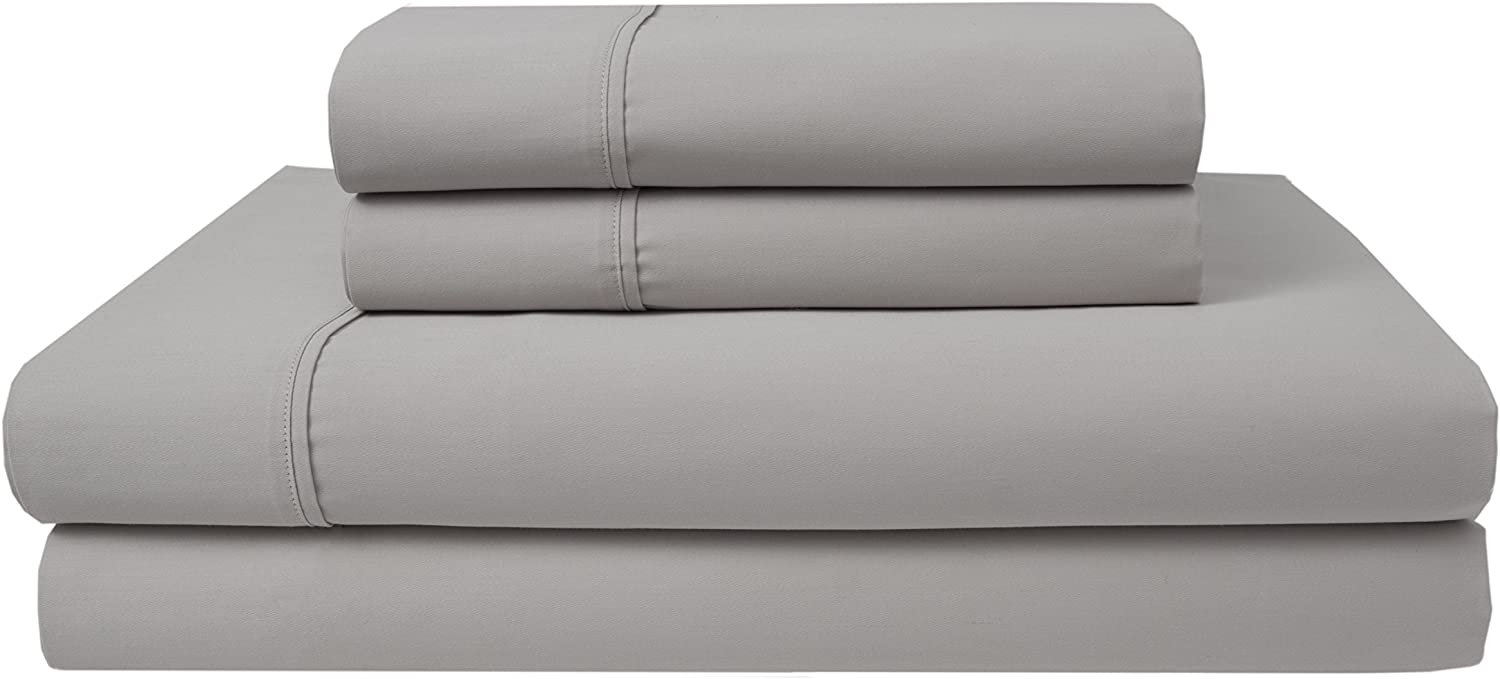Elite Home Products 300 Thread Count Organic Cotton Deep-Pocketed Sheet Set, Queen, Oyster