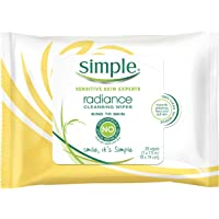 Simple Cleansing Facial Wipes, Kind to Skin 25 Count, Twin Pack Radiance Restore 25 Count