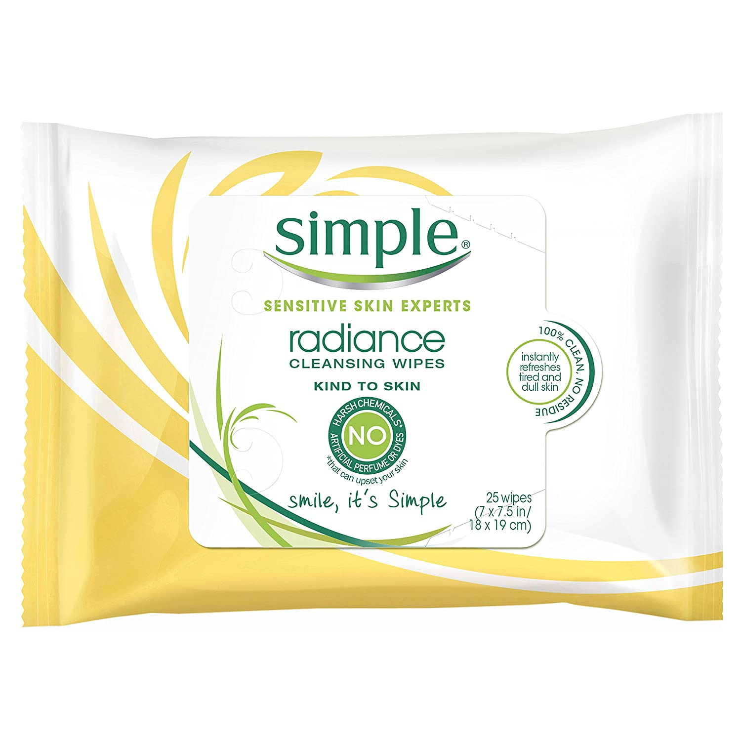Simple Kind to Skin Facial Wipes, Radiance 25 ct