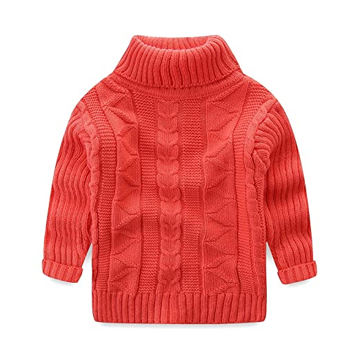 Image Unavailable. Image not available for. Color  UWESPRING Little Girl  Solid Winter Warm Turtleneck Knitted Sweaters 3T Pink 5cdca7070