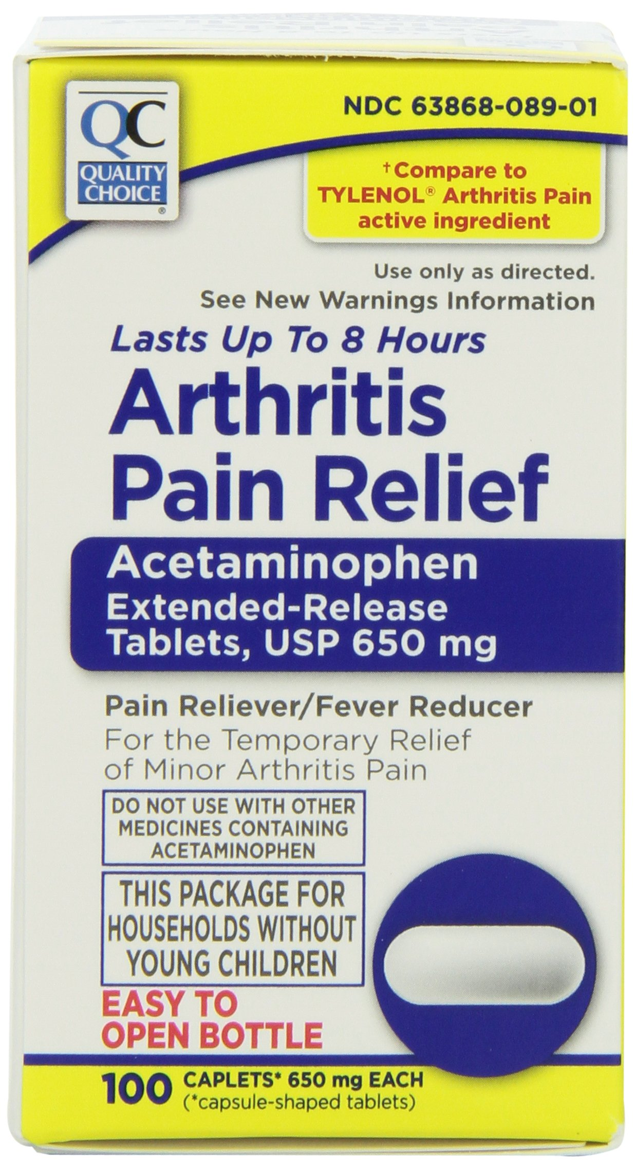Quality Choice Arthritis Non Aspirin 650mg. Pain Relief Caplet 100 Count With Easy Open Cap, Boxes (Pack of 2)
