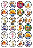 24 Winnie The Pooh Edible PREMIUM THICKNESS SWEETENED VANILLA,Wafer Rice Paper Cupcake Toppers/Decorations