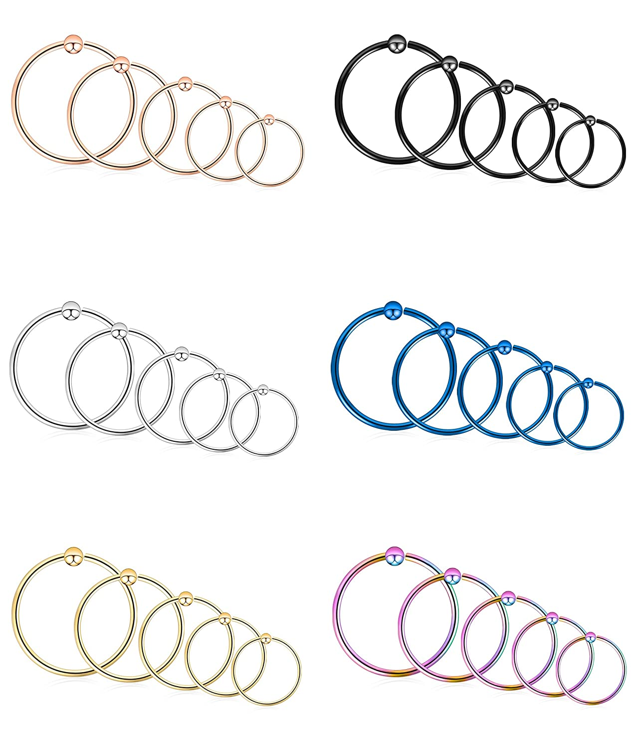 Tornito 18-30PCS 18G-16G-14G 316L Stainless Steel Nose Ring Hoop Septum Lip Daith Cartilage Helix Tragus Piercing Ring NP10C-18G