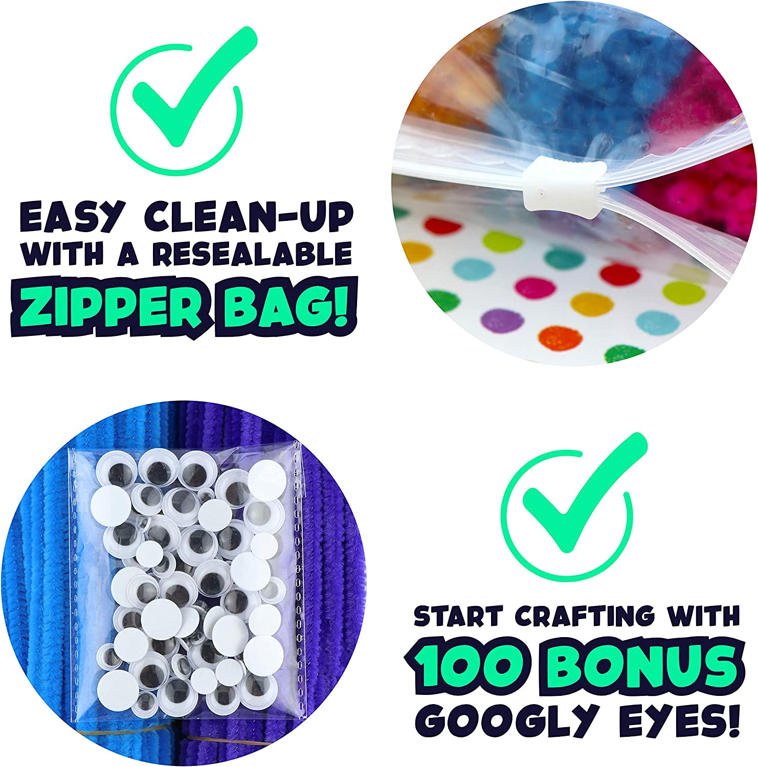 Chenille Stems for Classrooms Creative Kid/'s Gift Assorted Fuzzy Craft Supply Sticks Bulk Pipe Cleaners 1000 pcs Carl /& Kay Bonus: 100 Googly Eyes 10 Colors, 100 pcs//Color