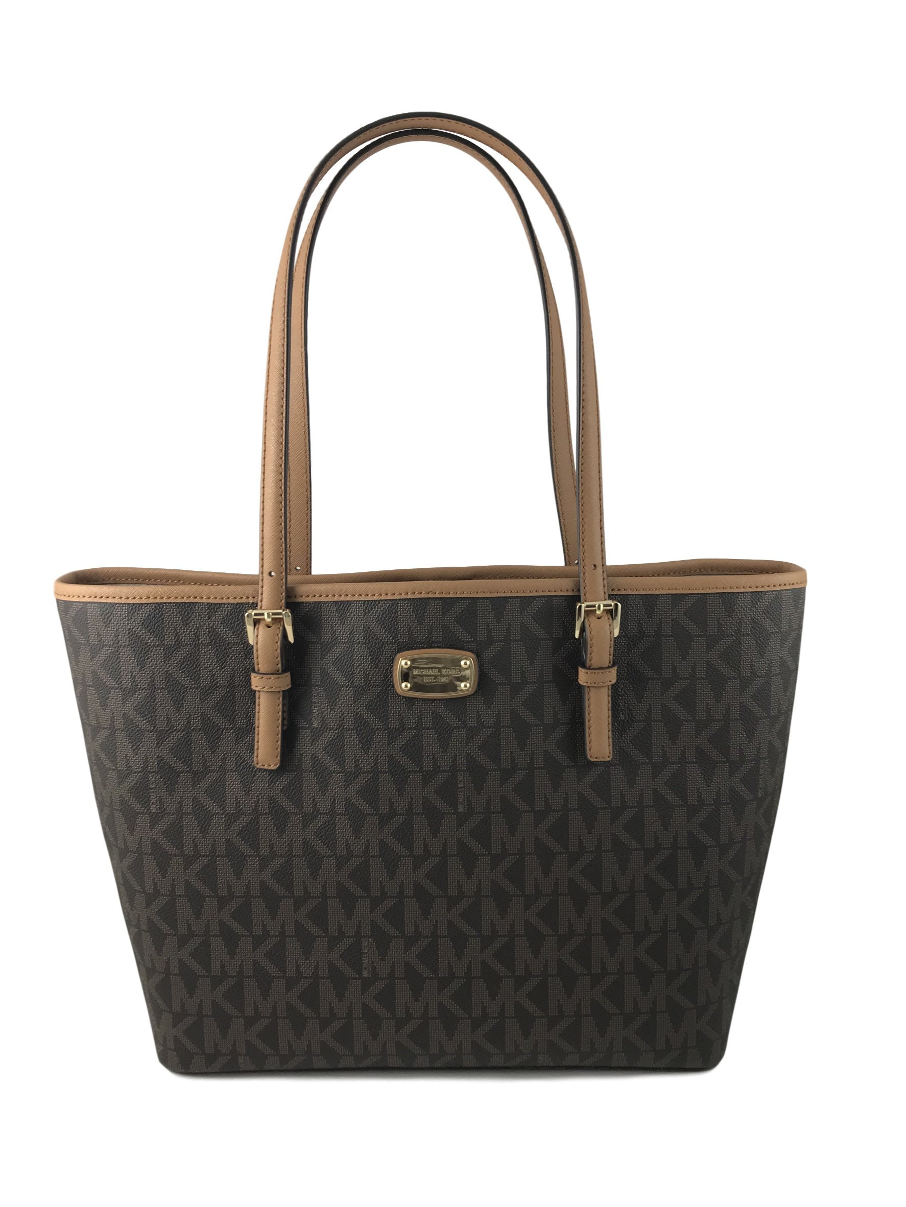 MICHAEL KORS Jet Set Travel Signature Carryall PVC SM Tote Shopper Bag in Brown