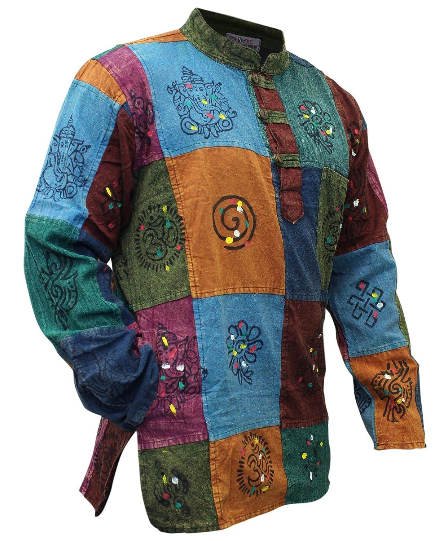 TALLA 3XL. Shopoholic Fashion - Camisa para hombre, diseño ácido multicolor, estilo Hippy