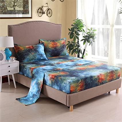 Cozzy Universe Galaxy Printed Bed Sheets Set 4 Pieces Flat U0026 Fitted Sheets  With 2