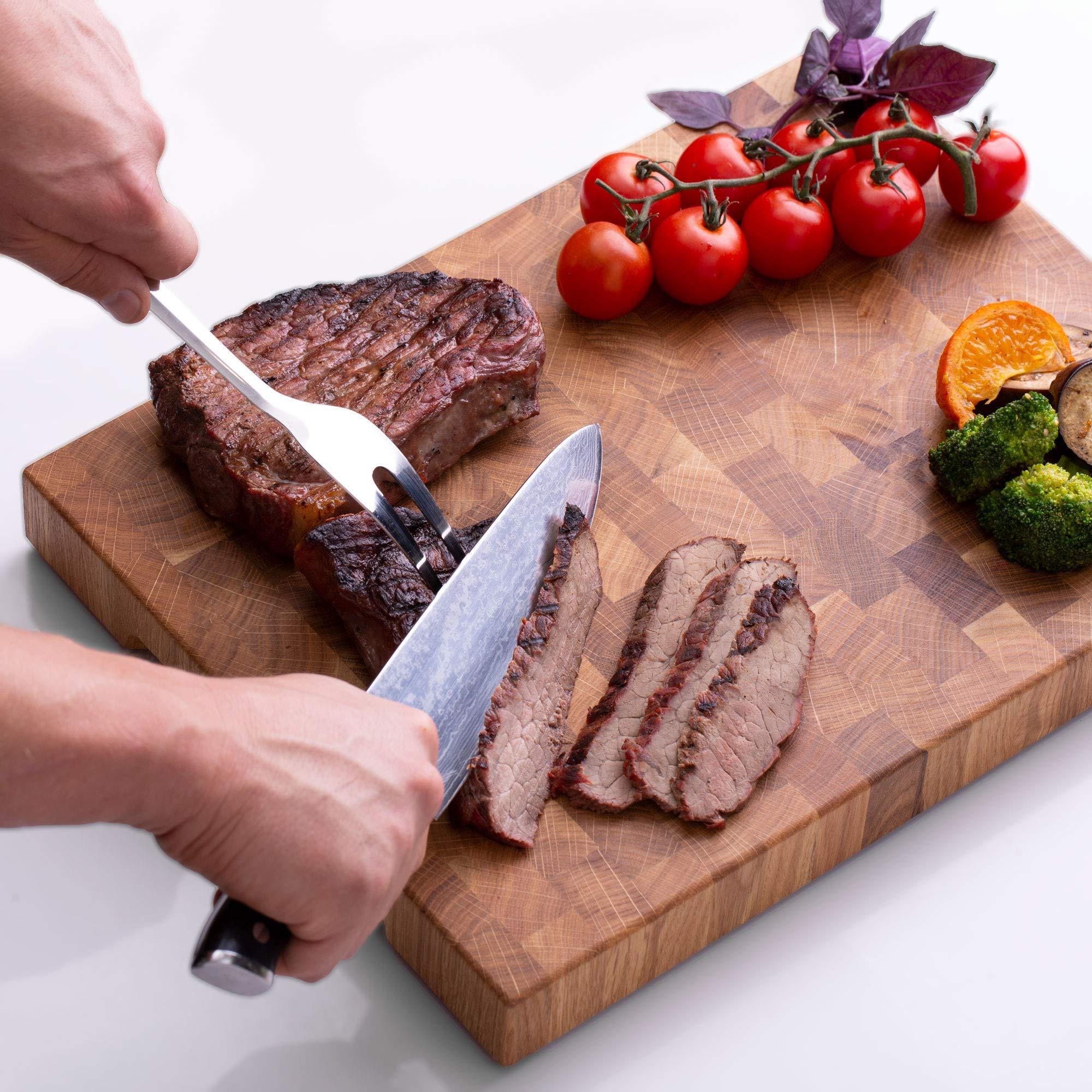 End Grain Wood cutting board - Wood Chopping block - Large cutting board 16 x 12 Kitchen butcher block Oak cutting board non slip cutting board with feet - Kitchen Wooden chopping board by TPA Wood (Image #6)